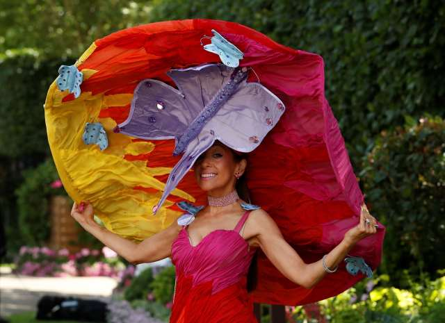 The Guardian Tracy Rose wearing her Butterflies over Sunset Hat at Royal Ascot